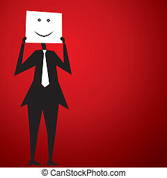 smiley face - men cover his face by smiley poster stock...