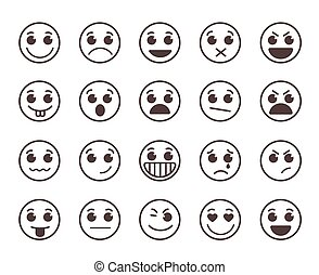 Smiley face flat line vector icons set with funny