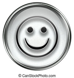 Smiley Face grey, isolated on white background.