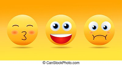 Smiley face icons or emoticons with set of different facial expressions in glossy 3D realistic isolated in yellow background. Vector illustration EPS