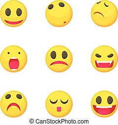 Smiley face icons set, cartoon style