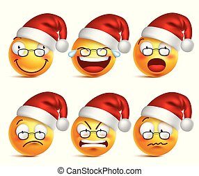 Smiley face of santa claus yellow emoticons with set of facial expressions