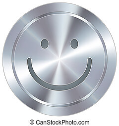 Smiley face emoticon icon on round stainless steel modern industrial button