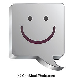 Smiley face on steel bubble - Smiley face emoticon icon on...