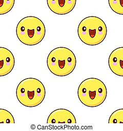 Smiley Face Seamless Pattern pattern on white background. emoticons emoji. Flat design Vector