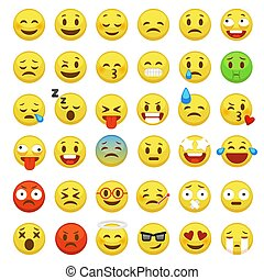 Smiley face set. Character facial yellow sign message people man emotion feelings chat cartoon vector icons