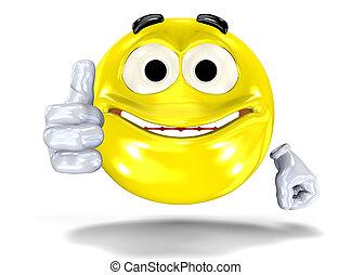 Smiley face showing ok sign - Happy smiley face, emoticon...