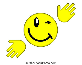 smiley face - Yellow smiley face on a white background