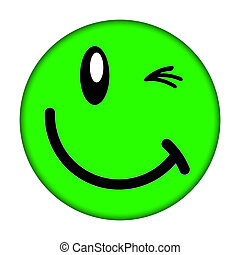 smiley face - Green smiley face on a white background
