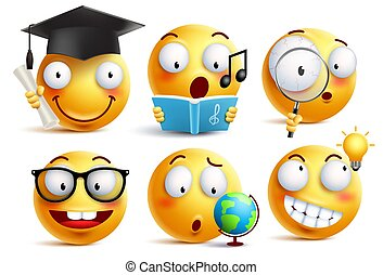 Smiley face student vector emoticons set with facial expressions