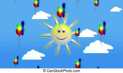 Smiley face sun and balloons