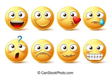 Smiley face vector character set. Smiley emoticons and emoji with different facial expression