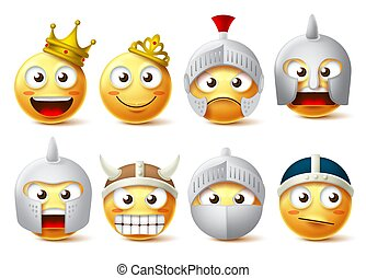 Smiley face vector character set. Smileys and emoticons characters of king, queen, knights,