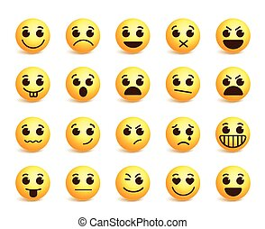 Smiley face vector icons set with funny facial