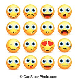 Smiley face vector set of emoticons and icons