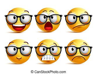 Smiley face vector set of yellow nerd emoticons with eyeglasses
