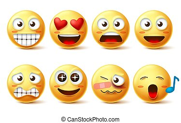 Smiley face vector set. Smileys icons and emoticons with funny, happy, inlove, singing