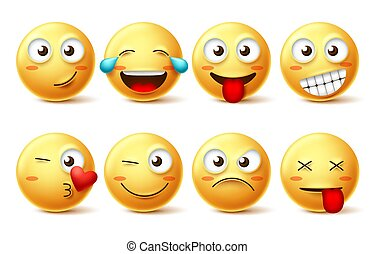Smiley face vector set. Smileys yellow emoji with happy, funny, kissing, laughing and tired