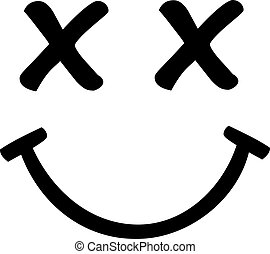 Smiley face with crossed eyes