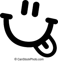 Smiley face with laughing mouth and tongue