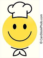Smiley Face yellow Chef. Happy smiley emoji vector yellow. Vector happy circle face.
