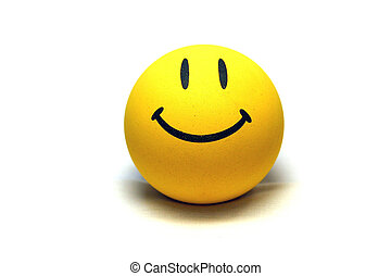 Smiley Face - Yellow smiley face on white background.