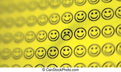 Smiley Face - Zoom in of frown face on a computer screen
