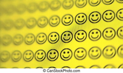 Smiley Face - Zoom in of smiley faces on a computer screen