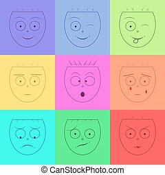 Smiley face/Emotions faces/Set of emoticons/Emotion icons/Vector smile icon