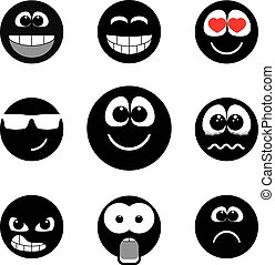 Smiley faces expressing different feelings, black and white version