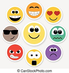 Smiley faces expressing different feelings, colored version