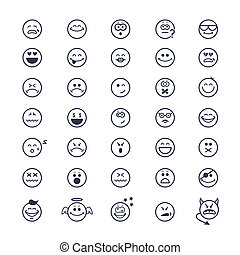 Smiley faces icons - large set of vector icons of smiley ...