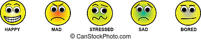 Smiley Faces - Illustration of emoticons including happy, ...
