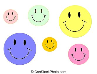 Multicolored Smiley Faces Background