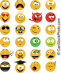 Smiley faces - Set of 24 smiley faces - vector illustrations