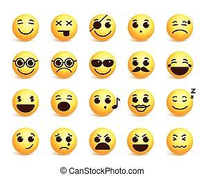 Smiley faces vector emoticons set