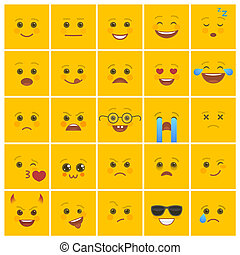 Smiley faces with facial expressions on yellow