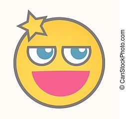 smiley, -, figure, vecteur, dessin animé, moyenne
