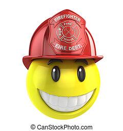 smiley fireman 3d illustration