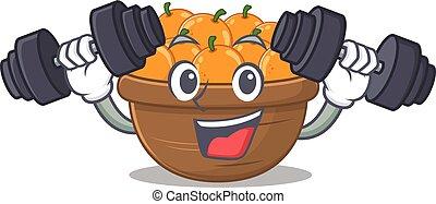 Smiley Fitness exercise orange fruit basket cartoon character raising barbells