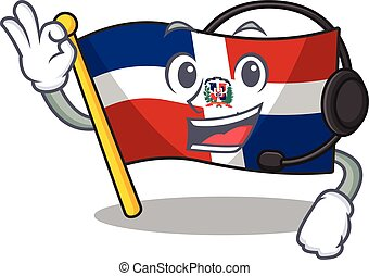Smiley flag dominican republic cartoon character design wearing headphone