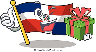Smiley flag dominican republic character with gift box