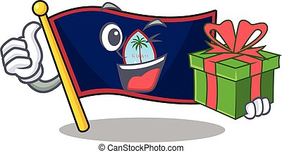 Smiley flag guam character with gift box