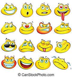 Smiley Frog - illustration of set glossy frog headed smiley...