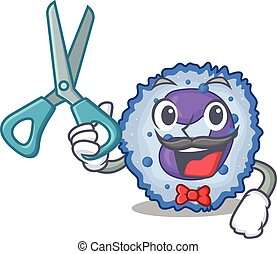 Smiley Funny Barber basophil cell cartoon character design ...