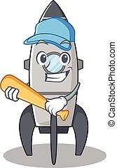 Smiley Funny rocket a mascot design with baseball