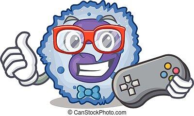 Smiley gamer basophil cell cartoon mascot style. Vector ...