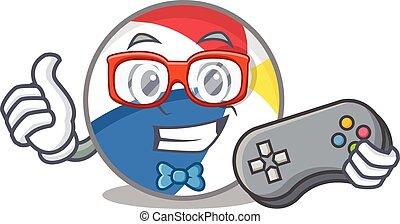Smiley gamer beach ball cartoon mascot style