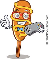 Smiley gamer corn dog cartoon mascot style