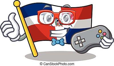 Smiley gamer flag dominican republic cartoon mascot style